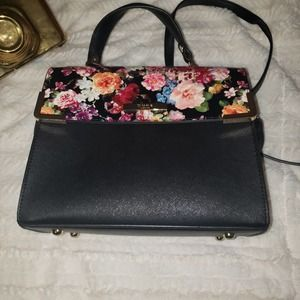 Dune London black and floral baguette handbag